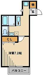 キャメル川越富士見町 2階1Kの間取り