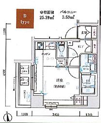 GENOVIA木場skygarden 7階ワンルームの間取り