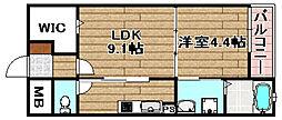 阪急京都本線 高槻市駅 3.2kmの賃貸マンション 1階1LDKの間取り