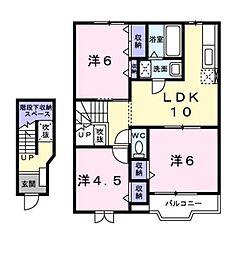 岡山県倉敷市児島小川9丁目の賃貸アパートの間取り