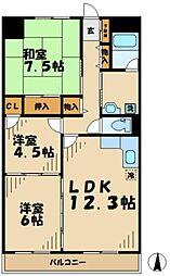 東京都多摩市貝取1丁目の賃貸マンションの間取り