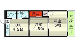 ミネルバ天王田 3階2DKの間取り