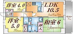 ライオンズマンション鷹取[4階]の間取り