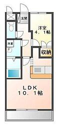 埼玉県坂戸市にっさい花みず木2丁目の賃貸アパートの間取り