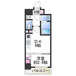 ファーストフィオーレ天王寺 7階1DKの間取り
