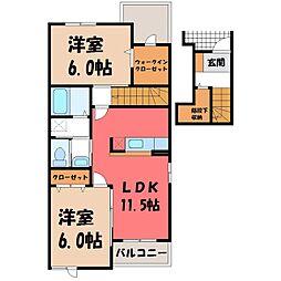 栃木県小山市西城南5丁目の賃貸アパートの間取り