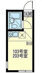 ユナイト阪東橋フォンカラーダの泉[103号室]の間取り
