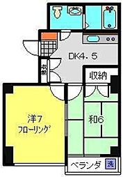 神奈川県横浜市神奈川区三枚町の賃貸マンションの間取り