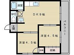 ヴィラナリー豊里[4階]の間取り