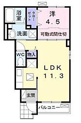 東武野田線 豊四季駅 徒歩20分の賃貸アパート 1階1LDKの間取り
