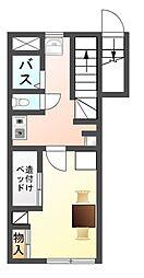 愛知県豊川市三蔵子町出口の賃貸アパートの間取り