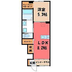 栃木県栃木市平柳町1丁目の賃貸アパートの間取り