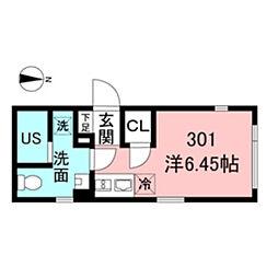 都営新宿線 新宿駅 徒歩5分の賃貸マンション 3階ワンルームの間取り