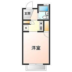 レオパレスFUKUMURAIII 2階1Kの間取り