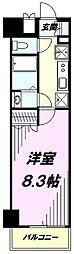 多摩都市モノレール 上北台駅 徒歩1分の賃貸マンション 8階1Kの間取り