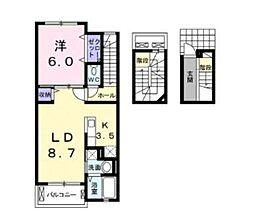 フロンティア21A[3階]の間取り