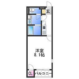 レオネクスト紀福 2階1Kの間取り