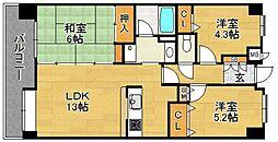 コアマンション和白東パセオ 3階3LDKの間取り