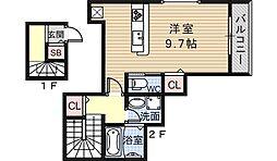 大阪府大阪市阿倍野区阪南町1丁目の賃貸アパートの間取り