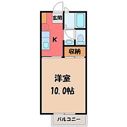 栃木県宇都宮市陽東7丁目の賃貸アパートの間取り