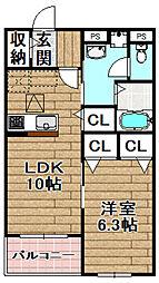 ピュアメゾン辻子 1階1LDKの間取り
