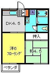 神奈川県横浜市戸塚区平戸1丁目の賃貸アパートの間取り