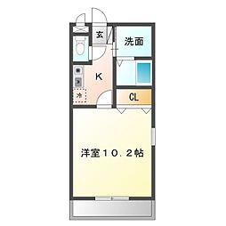 愛知県岡崎市緑丘1丁目の賃貸アパートの間取り