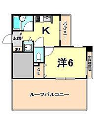 阪神本線 西宮駅 徒歩1分の賃貸マンション 10階1Kの間取り