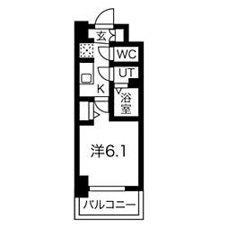 スプランディッド天王寺DUE 5階1Kの間取り