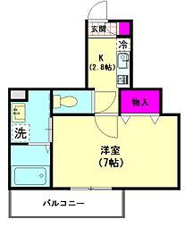La cour HASUNUMAII[201号室]の間取り