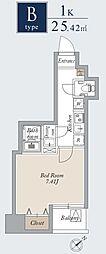東京メトロ日比谷線 入谷駅 徒歩1分の賃貸マンション 11階1Kの間取り