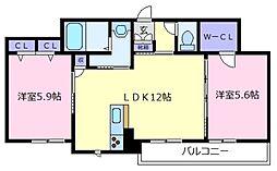 シャーメゾン・クレール天美[1階]の間取り