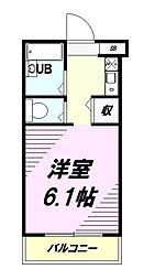 JR中央線 西八王子駅 徒歩3分の賃貸マンション 3階1Kの間取り