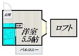 レザン浜田山[201号室]の間取り
