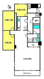 与野ハウス3号棟[7階]の間取り
