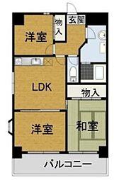 エクリーンミタカII 2階3LDKの間取り