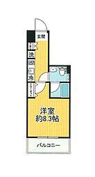 SHOKEN Residence横浜WEST 5階1Kの間取り