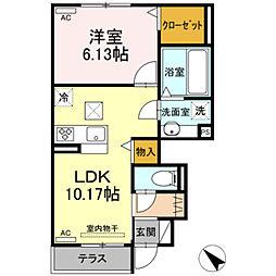 仮)D-room御津町広石 1階1LDKの間取り