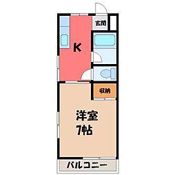栃木県宇都宮市宿郷1丁目の賃貸マンションの間取り