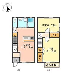 愛知県日進市岩崎町六坊の賃貸アパートの間取り