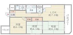大阪府八尾市光町2丁目の賃貸マンションの間取り