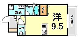 JR東海道・山陽本線 甲子園口駅 徒歩7分の賃貸マンション 6階ワンルームの間取り