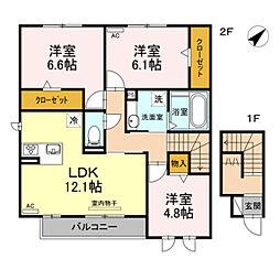 JR東海道本線 豊橋駅 バス21分 高師原口下車 徒歩3分の賃貸アパート 2階3LDKの間取り
