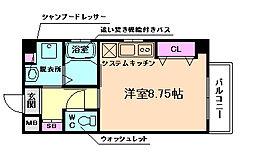 エルシャ野田 2階ワンルームの間取り