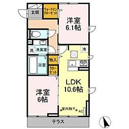 京王相模原線 南大沢駅 徒歩15分の賃貸アパート 1階2LDKの間取り