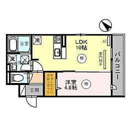 D-room泉大津市若宮町 1階1LDKの間取り