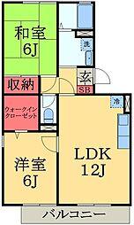 千葉県千葉市緑区あすみが丘5丁目の賃貸アパートの間取り