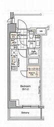 都営大江戸線 月島駅 徒歩4分の賃貸マンション 2階ワンルームの間取り