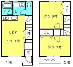 愛知県豊田市小坂町4丁目の賃貸アパートの間取り