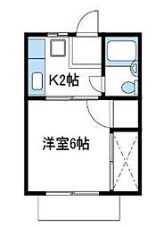 神奈川県厚木市寿町1丁目の賃貸アパートの間取り